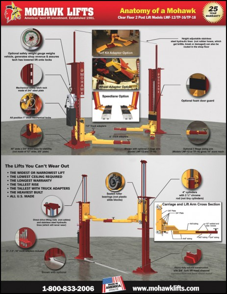 Mohawk Lifts Lmf 12 Amp Tp 16 Two Post Auto Lift And Truck