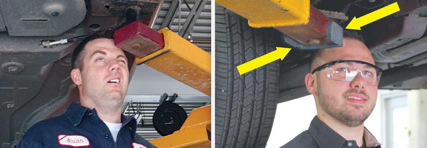 Safety Lifting Arms : Post automotive lift swing arm safety head guard